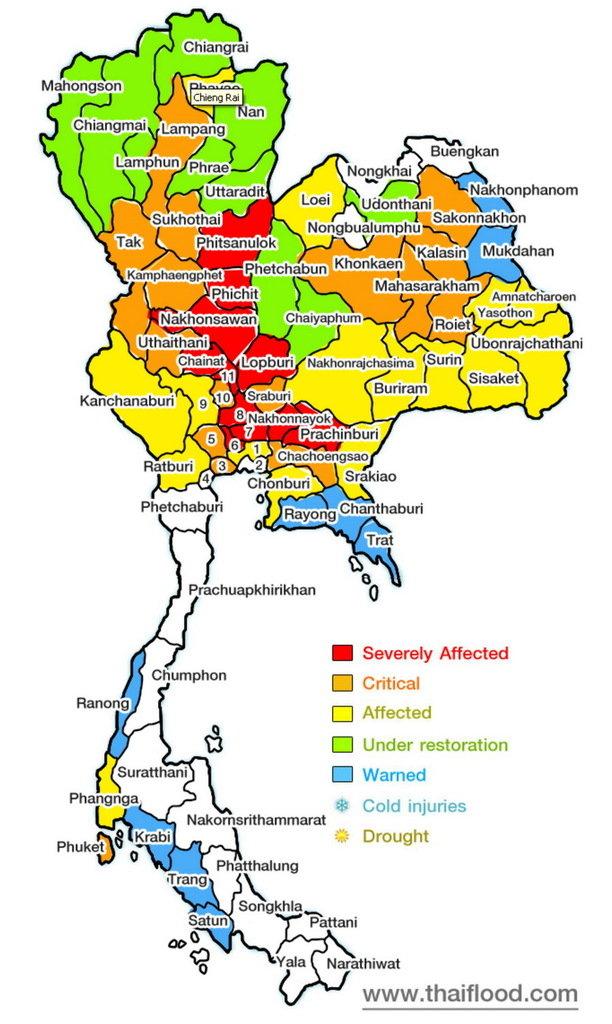 Carte Thailande Climat.Carte Provinces Inondations Thailande Octobre 2011 Envi2bio
